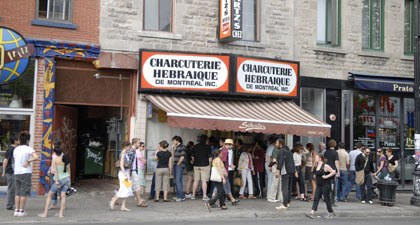 Schwartz's deli has been a fixture on the Main for more than eight decades. [Jonathan Wenk photo]