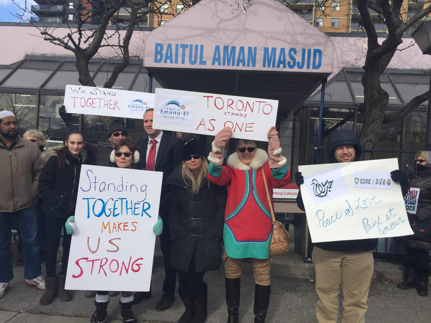 Members of Toronto's Temple Emanu-El show support at the Danforth Islamic Centre on FEb. 3. RON CSILLAG PHOTO